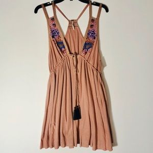 Free People Tan Embroidered Strappy Sundress Sz S